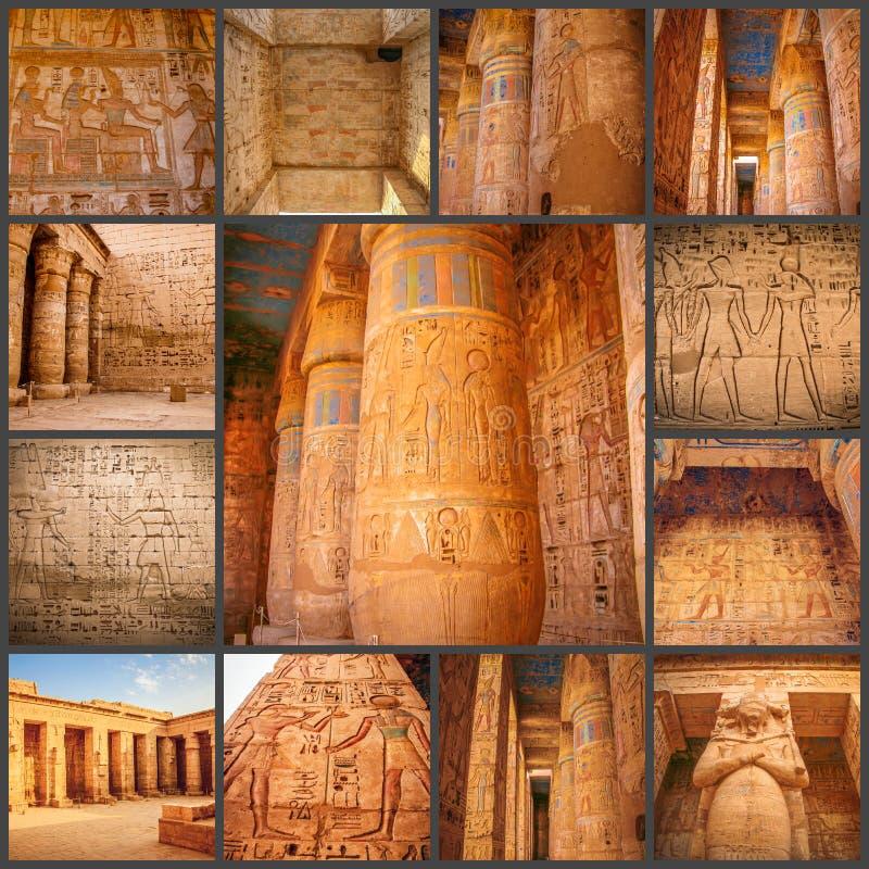 Коллаж древнего храма фото красивого medina-Habu Египет, Луксор стоковые фото