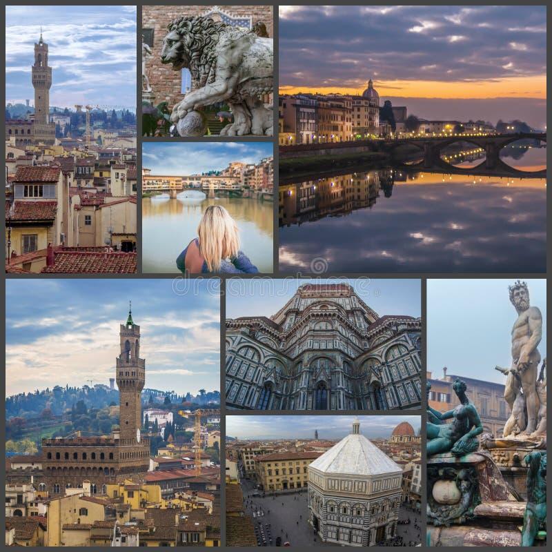 Коллаж фото видимостей Флоренс Италия стоковое изображение rf
