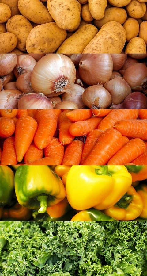 Коллаж овощей текстурирует вертикальное стоковые изображения