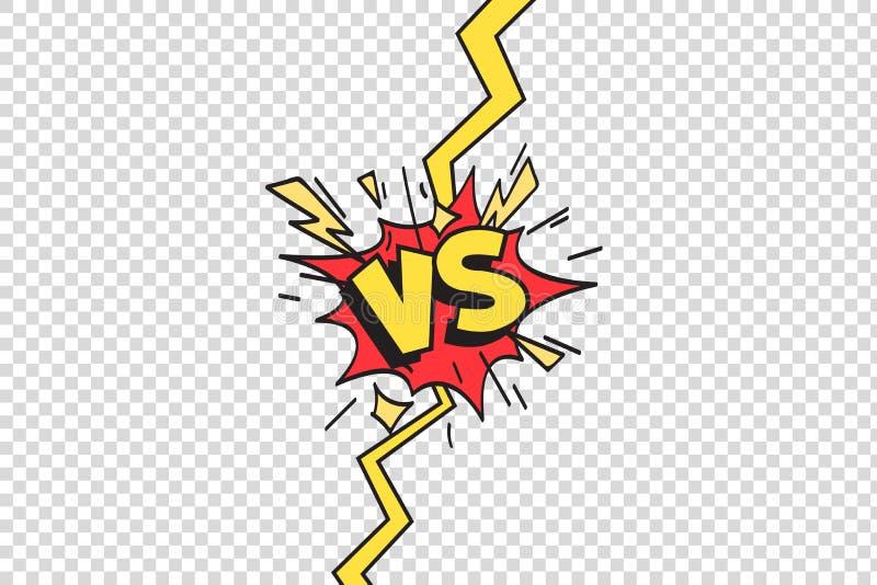 Комиксы против рамки Против границы луча молнии, шуточная воюя конфронтация поединка и боя изолированный вектор мультфильма иллюстрация вектора