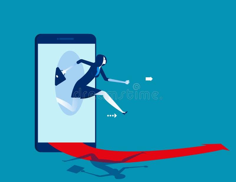 Коммерсантка скача из умного телефона Дело концепции начиная онлайн иллюстрацию вектора иллюстрация штока