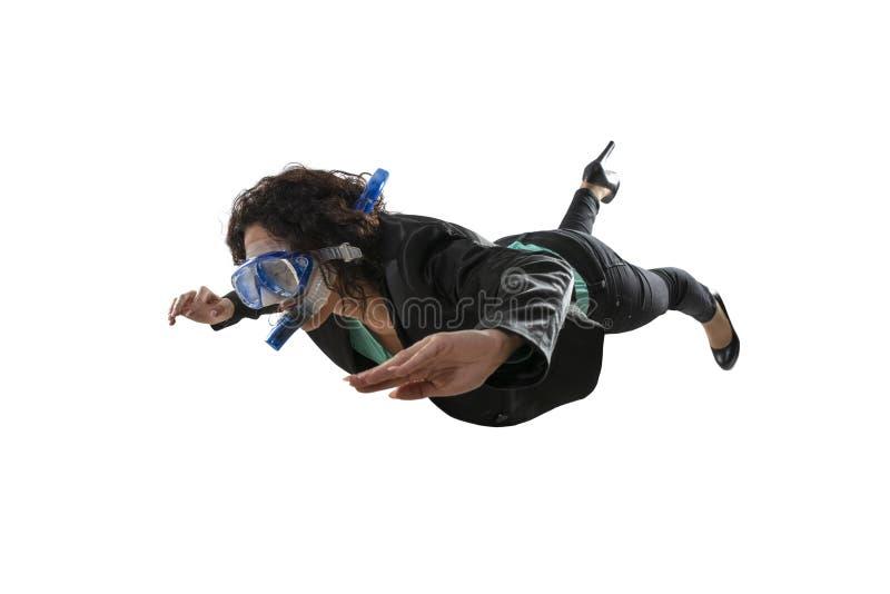Коммерсантка с заплывами маски изолированная на белой предпосылке стоковое изображение