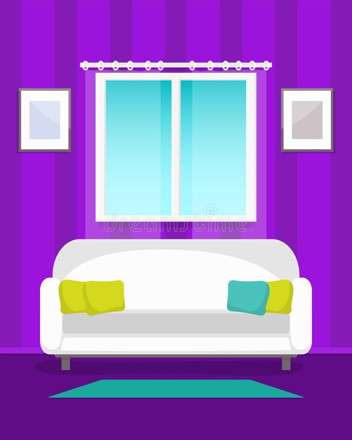 комната изображения 3d нутряная живущая Домашний яркий интерьер в тонах сирени иллюстрация штока