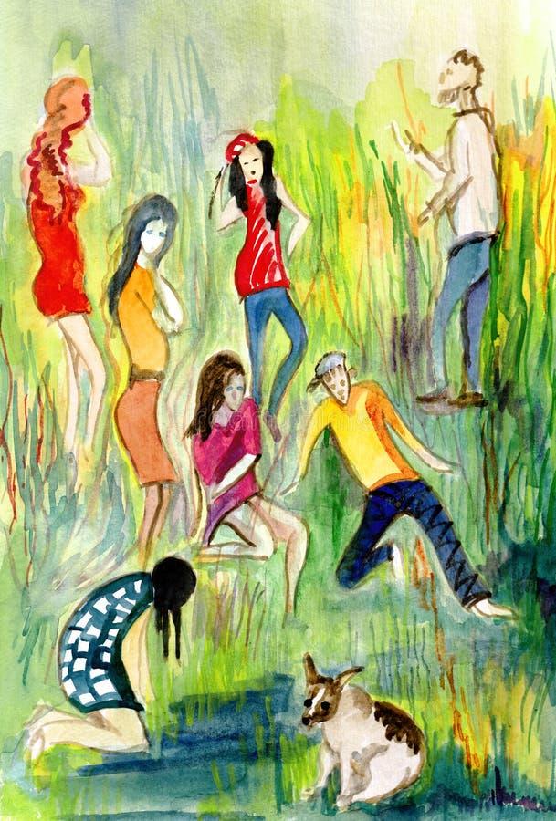 Компания людей идя в парк бесплатная иллюстрация
