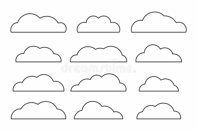 Комплект значков облака иллюстрация штока