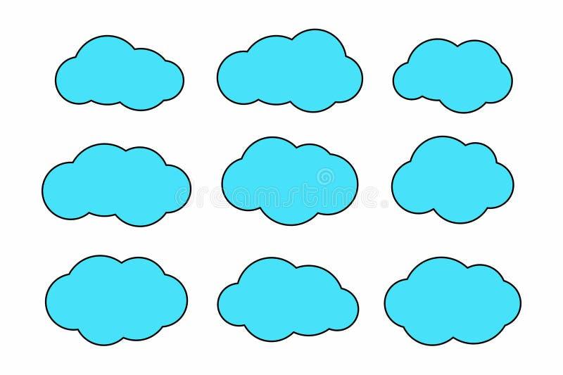 Комплект значков облака иллюстрация вектора