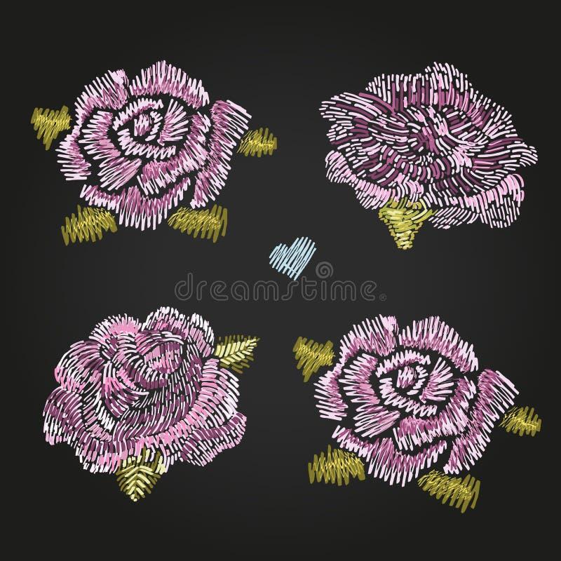 Комплект красивых роз романско Вышивка Мода в иллюстрации вектора иллюстрация вектора