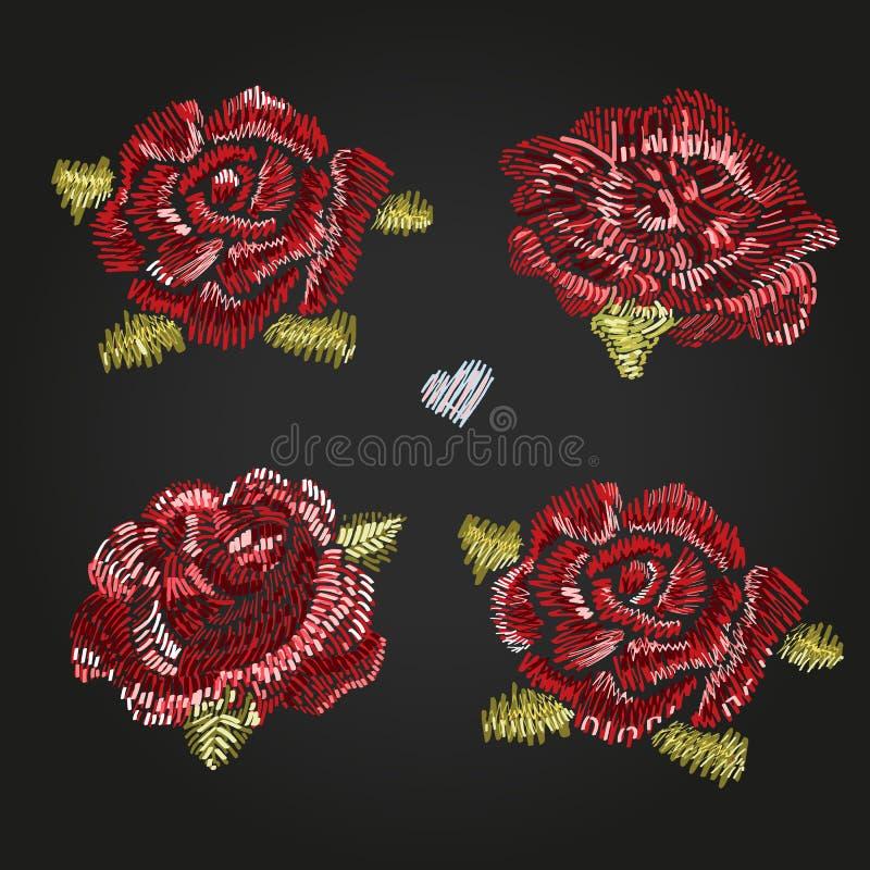 Комплект красивых роз романско Вышивка Мода в иллюстрации вектора иллюстрация штока