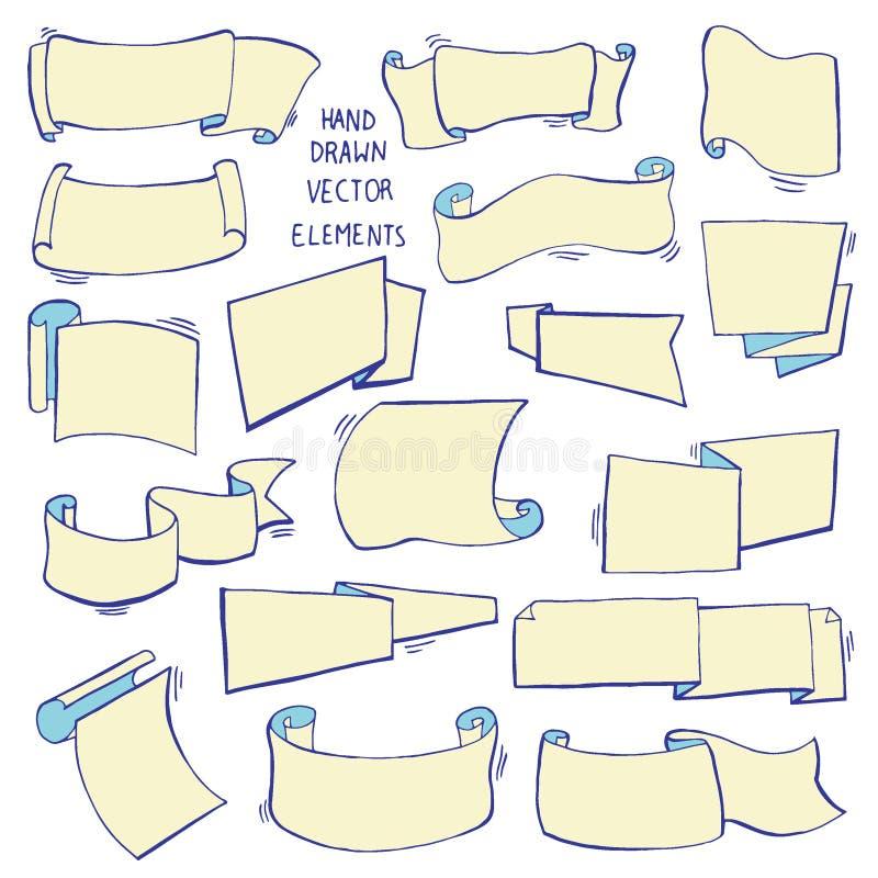 Комплект нарисованный рукой различных лент Конструируйте элементы для поздравительных открыток, знамен, приглашений Эскиз, иллюст иллюстрация вектора