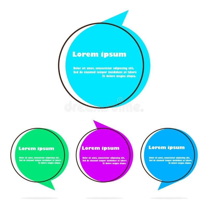Комплект плоского пузыря речи сформировал знамена, ценники, стикеры, значки также вектор иллюстрации притяжки corel иллюстрация вектора