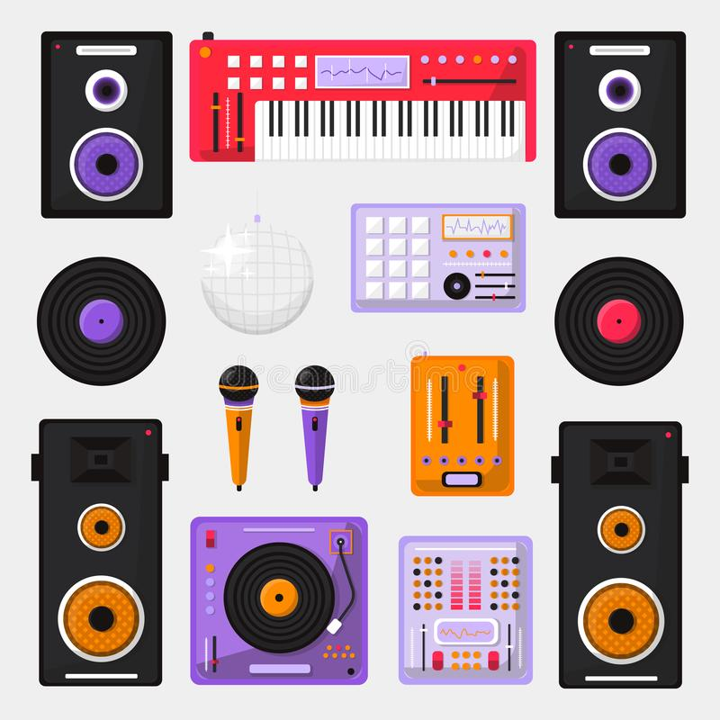 Комплект приборов смешивания DJ изолированных на белой предпосылке Иллюстрация вектора дня музыки Worl фокус оборудования dj отме иллюстрация вектора