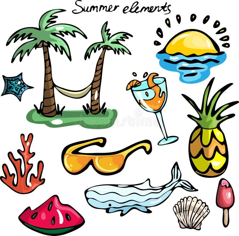 Комплект элементов лета бесплатная иллюстрация