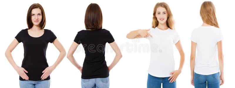 Комплект футболки Фронт и задние брюнет и блондинка взгляда в белой и черной изолированной футболке Девушка 2 в пустой рубашке, н стоковое изображение