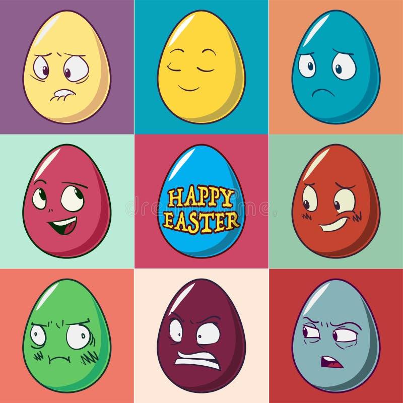 Комплект emoji пасхальных яя Милые смешные эмоциональные значки Счастливые смайлики также вектор иллюстрации притяжки corel иллюстрация штока