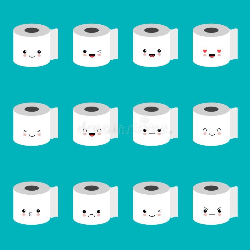 Комплект emoji туалетной бумаги вектора Смешные смайлики шаржа иллюстрация штока