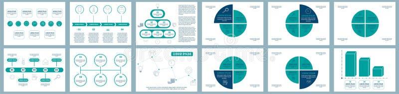 Комплект infographics вектора Собрание шаблонов для диаграммы цикла, диаграммы, представления и круглой диаграммы Концепция дела  иллюстрация штока
