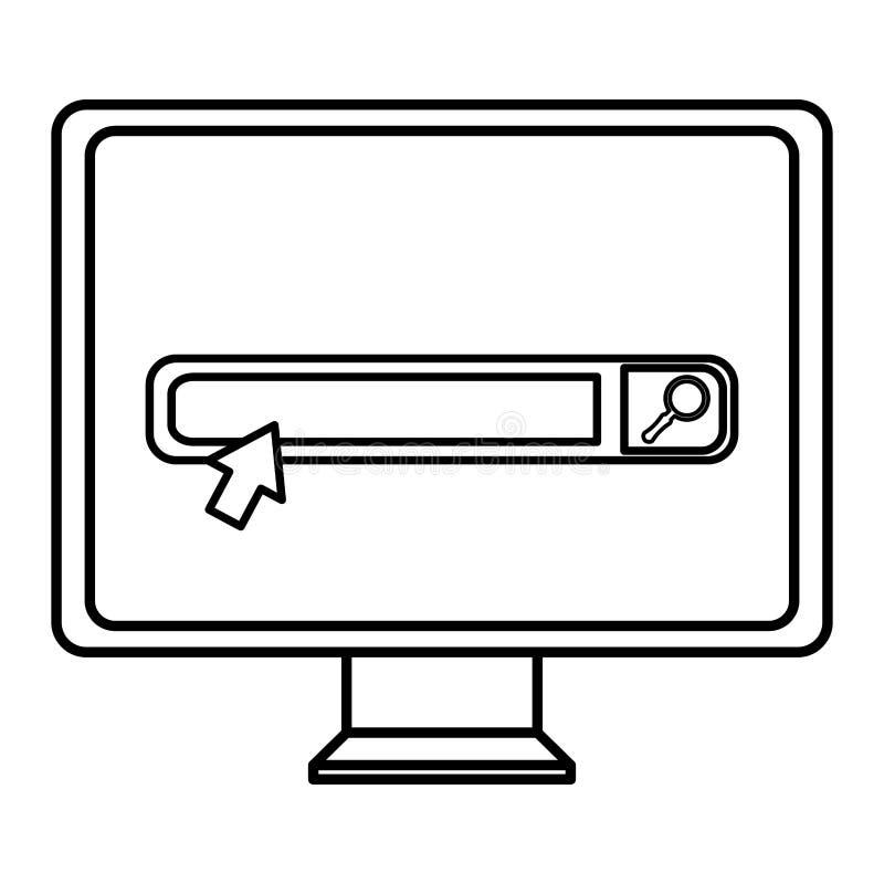 Компьютер монитора с баром поиска иллюстрация вектора