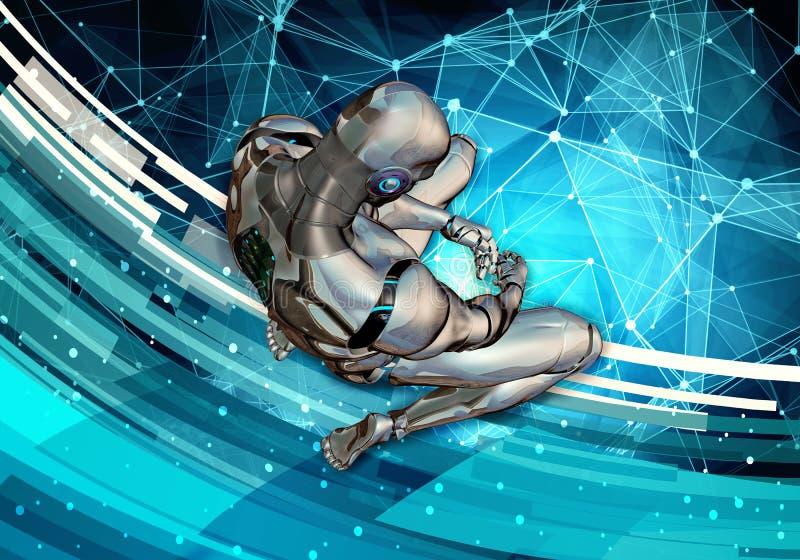 Компьютер 3d конспекта уникальный художественный произвел иллюстрацию грустного искусственного умного человека устанавливая в пол бесплатная иллюстрация