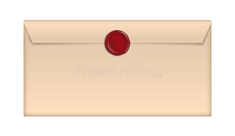 Конверт вектора коричневый бумажный ретро с красным уплотнением воска изолированным на белой предпосылке иллюстрация штока
