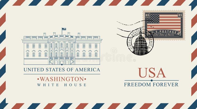 Конверт вектора с Белым Домом и американским флагом иллюстрация штока