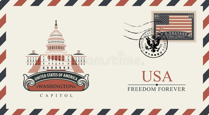 Конверт с капитолием Вашингтона и американским флагом бесплатная иллюстрация