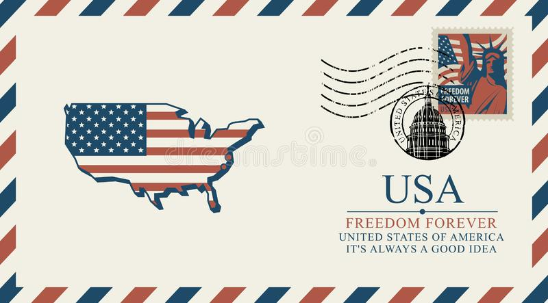 Конверт с картой Америки в цветах флага иллюстрация вектора