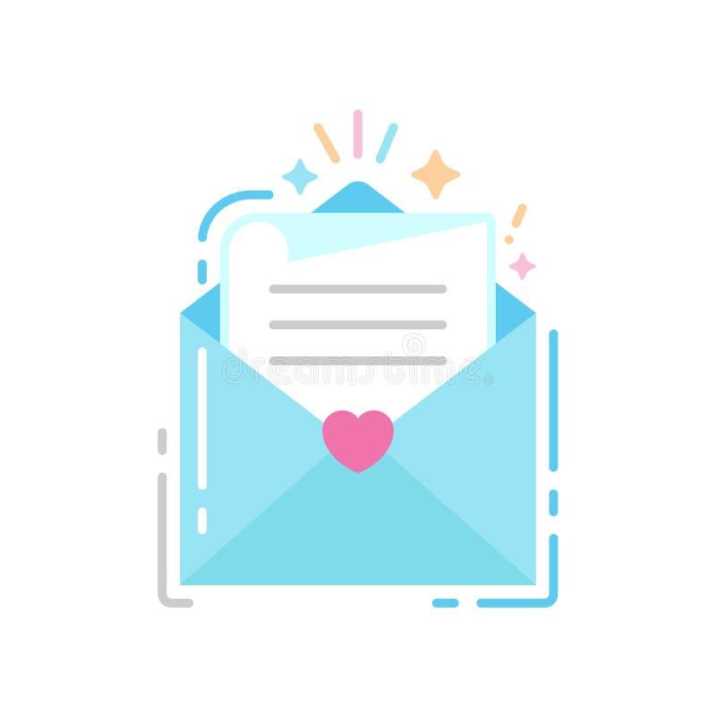 Конверт со значком цвета письма плоским Концепция приглашения свадьбы иллюстрация штока