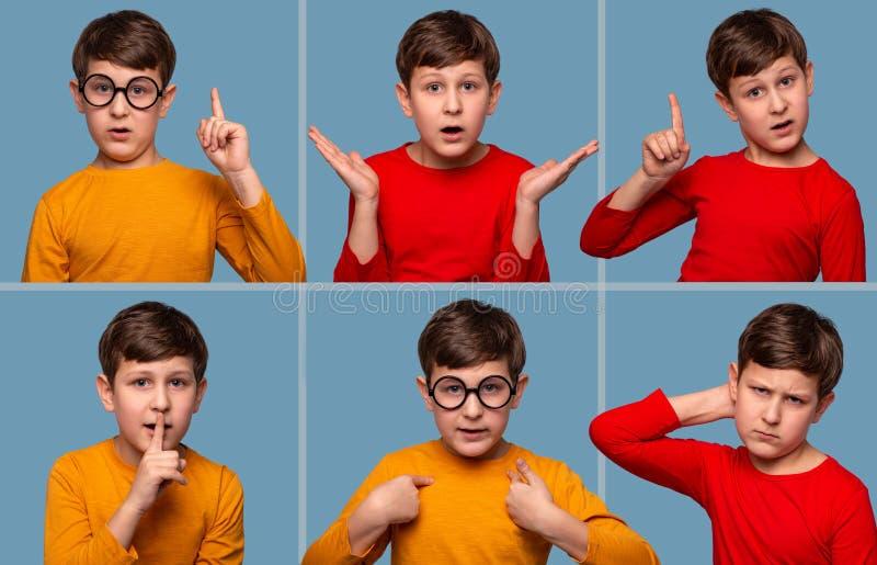 Конец вверх по различным эмоциональным портретам мальчика нося шорты желтого abd красные на голубой предпосылке в студии стоковое фото