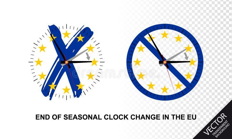 Конец сезонного изменения в Европейском союзе - концепции часов иллюстраций вектора иллюстрация вектора