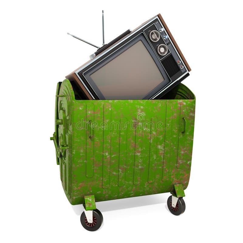 Конец сетноой-аналогов концепции эры ТВ, перевода 3D иллюстрация штока