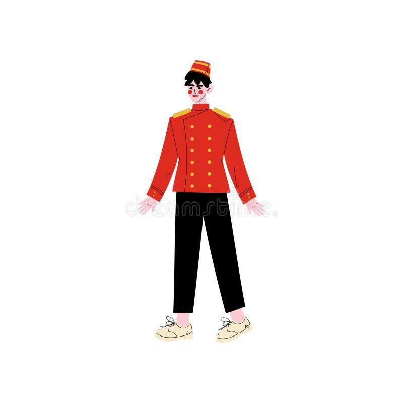 Консьерж или портер, характер штата гостиницы в красной равномерной иллюстрации вектора иллюстрация штока