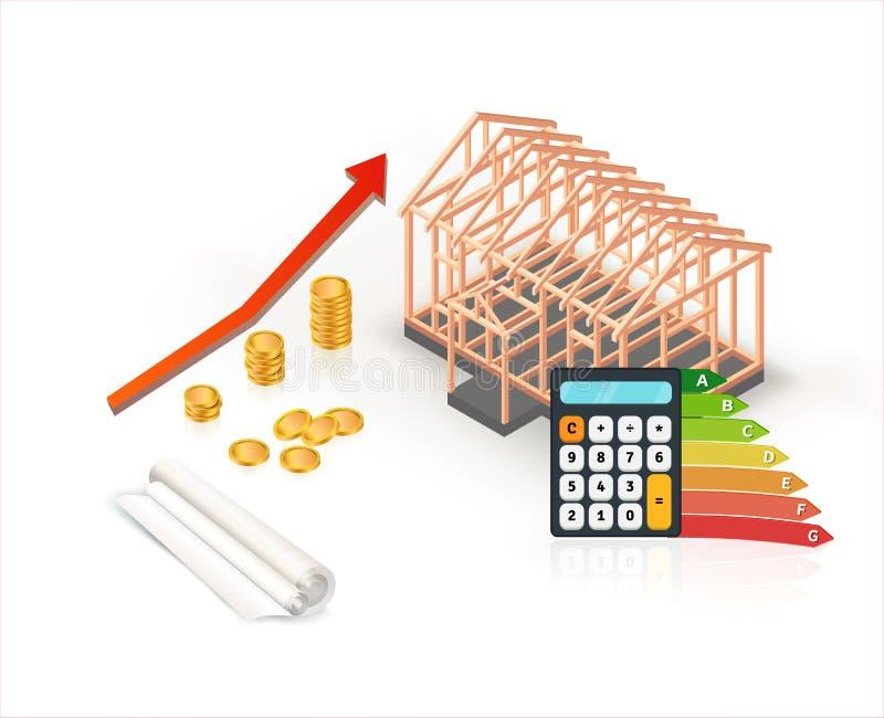 Конструкция дома равновеликой энергии эффективная деревянная с калькулятором и монетками иллюстрация вектора