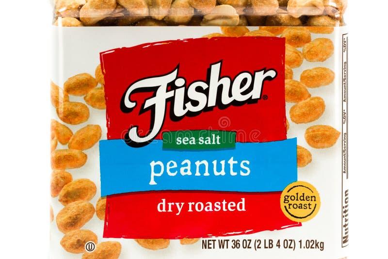 Контейнер арахиса Fisher сухие зажаренные в духовке и логотип товарного знака стоковое фото