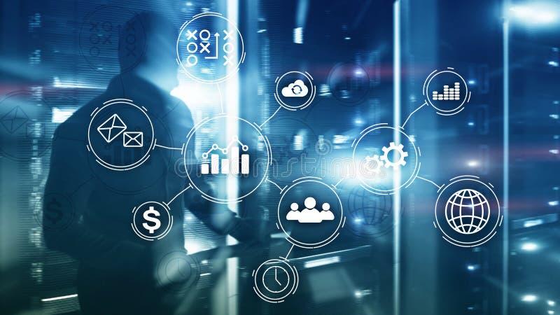 Концепция автоматизации бизнес-процесса на запачканной предпосылке стоковое фото rf