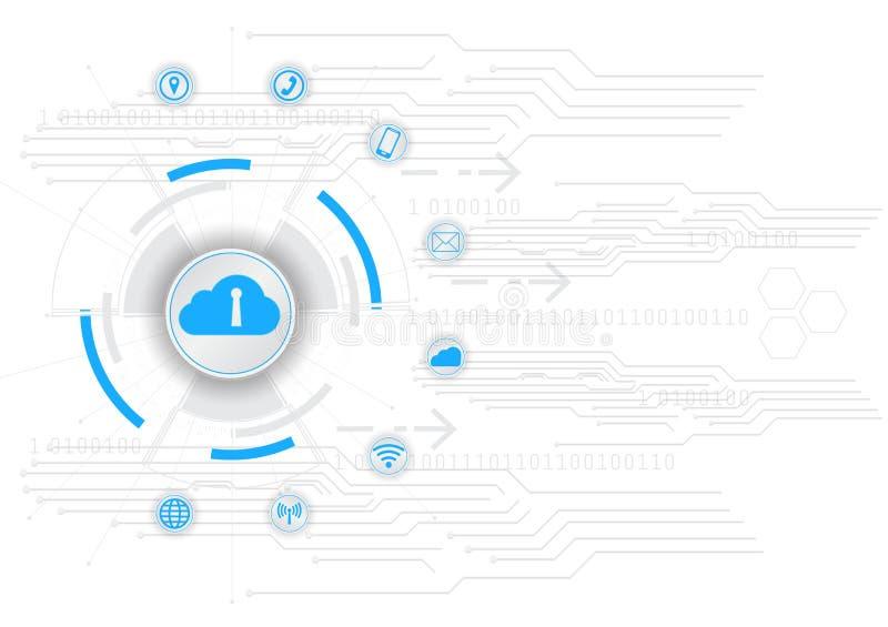 Концепция безопасности, цифровое облако вычисляя, безопасность кибер, абстрактная hi иллюстрация предпосылки вектора технологии и иллюстрация вектора