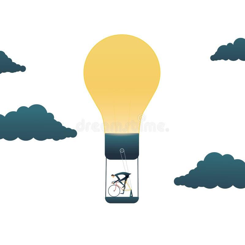 Концепция вектора творческих способностей дела с лампочкой бизнесмена приводя в действие Символ первоначального, творческий, дума иллюстрация вектора