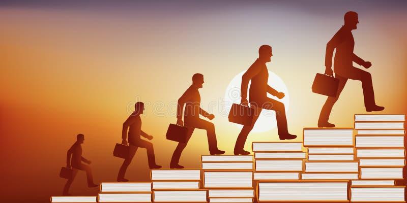 Концепция знания с рукой показывая лестницу сделанную из штабелированных книг иллюстрация вектора