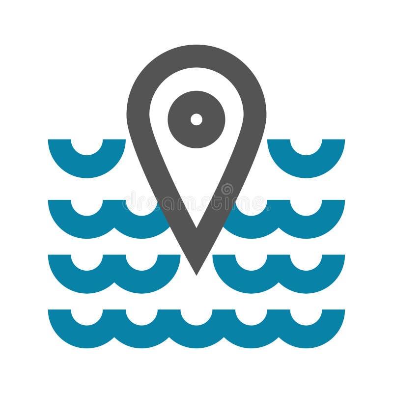 Концепция иллюстрации вектора значка метки geo места моря Черным по белому предпосылка иллюстрация вектора