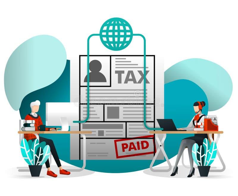 Концепция иллюстрации вектора для элемента сети, черни, плаката, знамени Онлайн уплата налогов, отчетность и заявка Налог Cust ко бесплатная иллюстрация