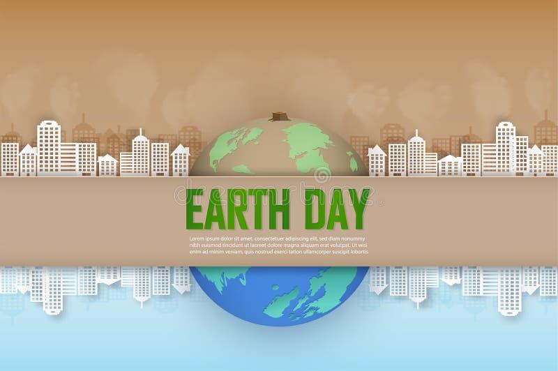 Концепция кампании и помочь поддерживать наши мир и деревья засаживать на светлое будущее иллюстрация штока