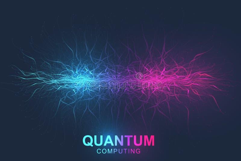 Концепция компьютерной технологии Кванта Глубокий уча искусственный интеллект Большое визуализирование алгоритмов данных для иллюстрация штока