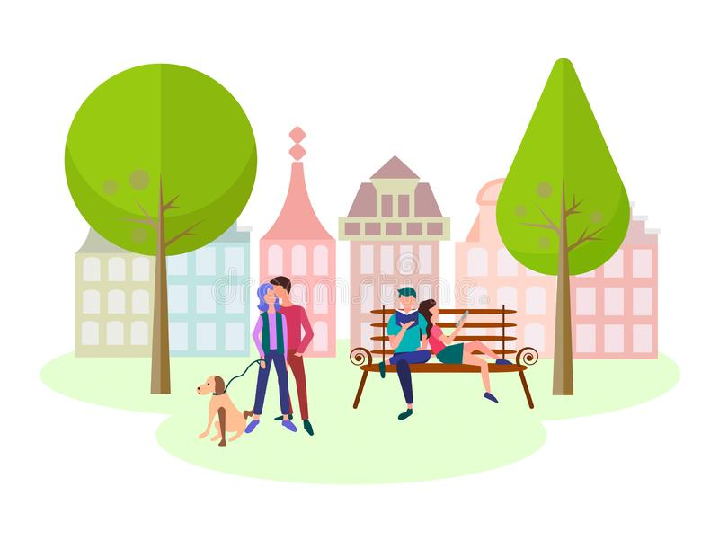 Концепция любовников отдыха в парке города иллюстрация штока