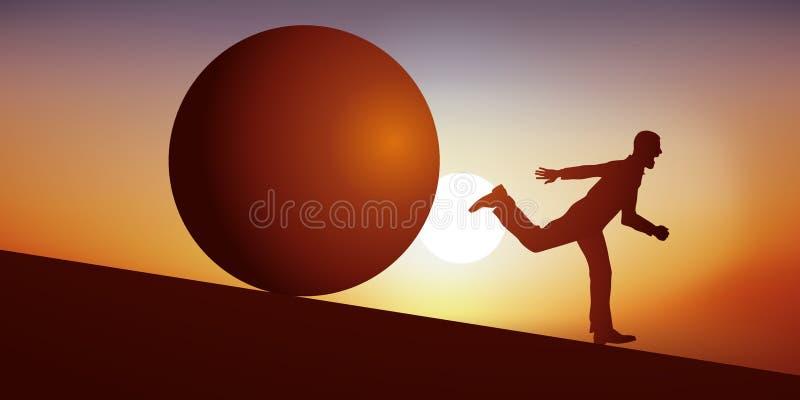 Концепция плохой мечты с усиленным человеком который последован шариком который бежит вниз с наклона иллюстрация вектора