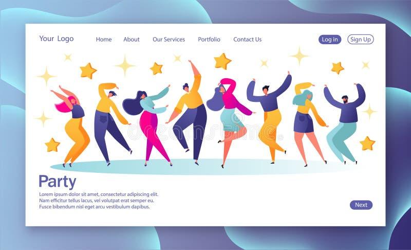 Концепция приземляясь страницы с молодыми счастливыми танцуя людьми Молодые люди и женщины наслаждаясь танцами вектор каникулы цв иллюстрация вектора