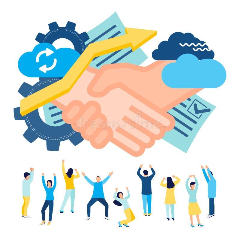 Концепция дела и партнерства, согласование партий, встряхивание руки, успех, технология hi-техника, подписывая документы, работая иллюстрация вектора