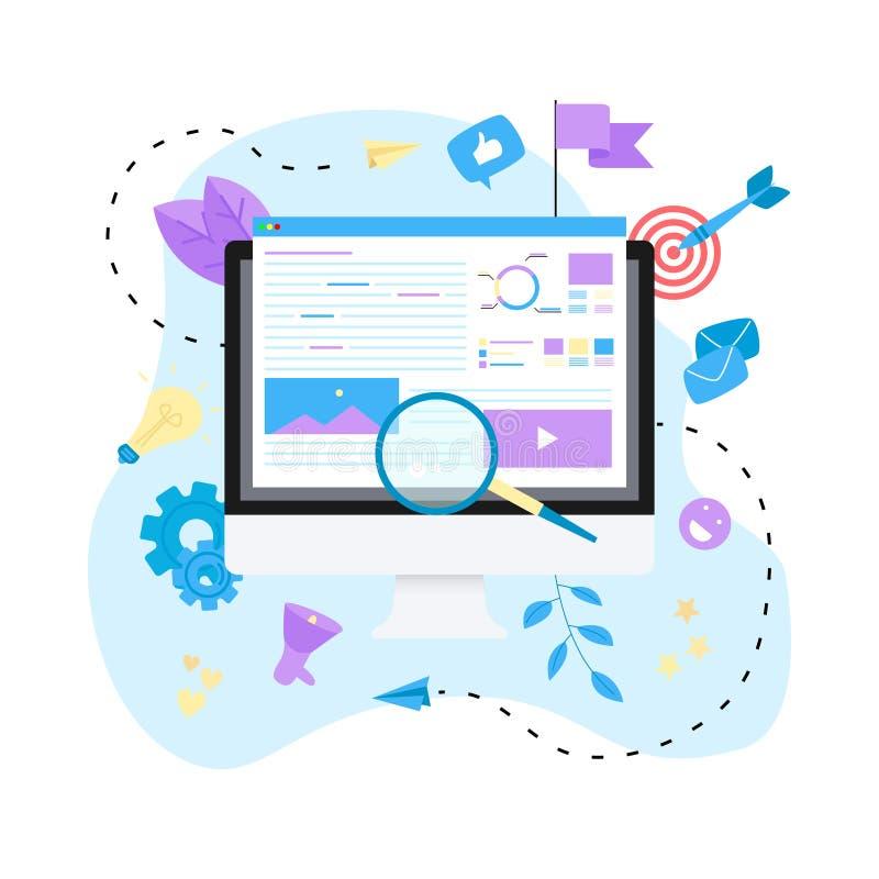 Концепция для агенства цифров выходя на рынок, цифровые средства массовой информации агитирует плоская иллюстрация вектора иллюстрация вектора