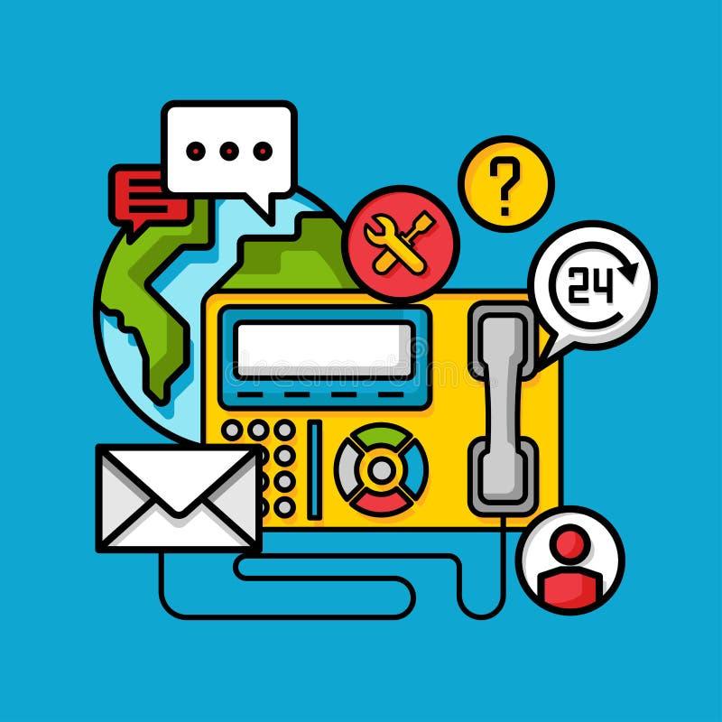 Концепция сервисной поддержки обслуживания клиента контакта, онлайн бизнес-консультант иллюстрация штока