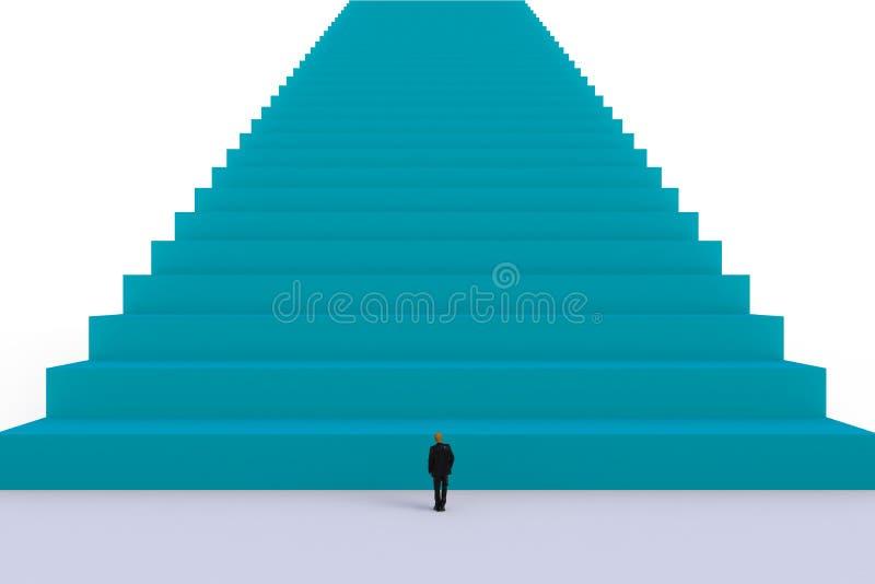 Концепция с бизнесменом, изображение успеха миниатюрного положения бизнесмена перед голубой лестницей на белой предпосылке стены бесплатная иллюстрация