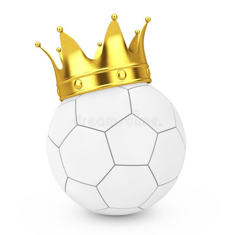 Концепция успеха футбола футбола Золотая крона над белым кожаным футбольным мячом футбола перевод 3d иллюстрация вектора