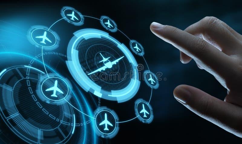 Концепция транспорта перемещения технологии дела с самолетами иллюстрация штока